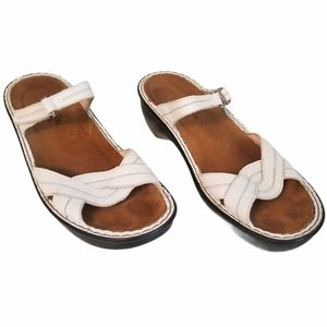Naot women's white leather wedge slide sandals